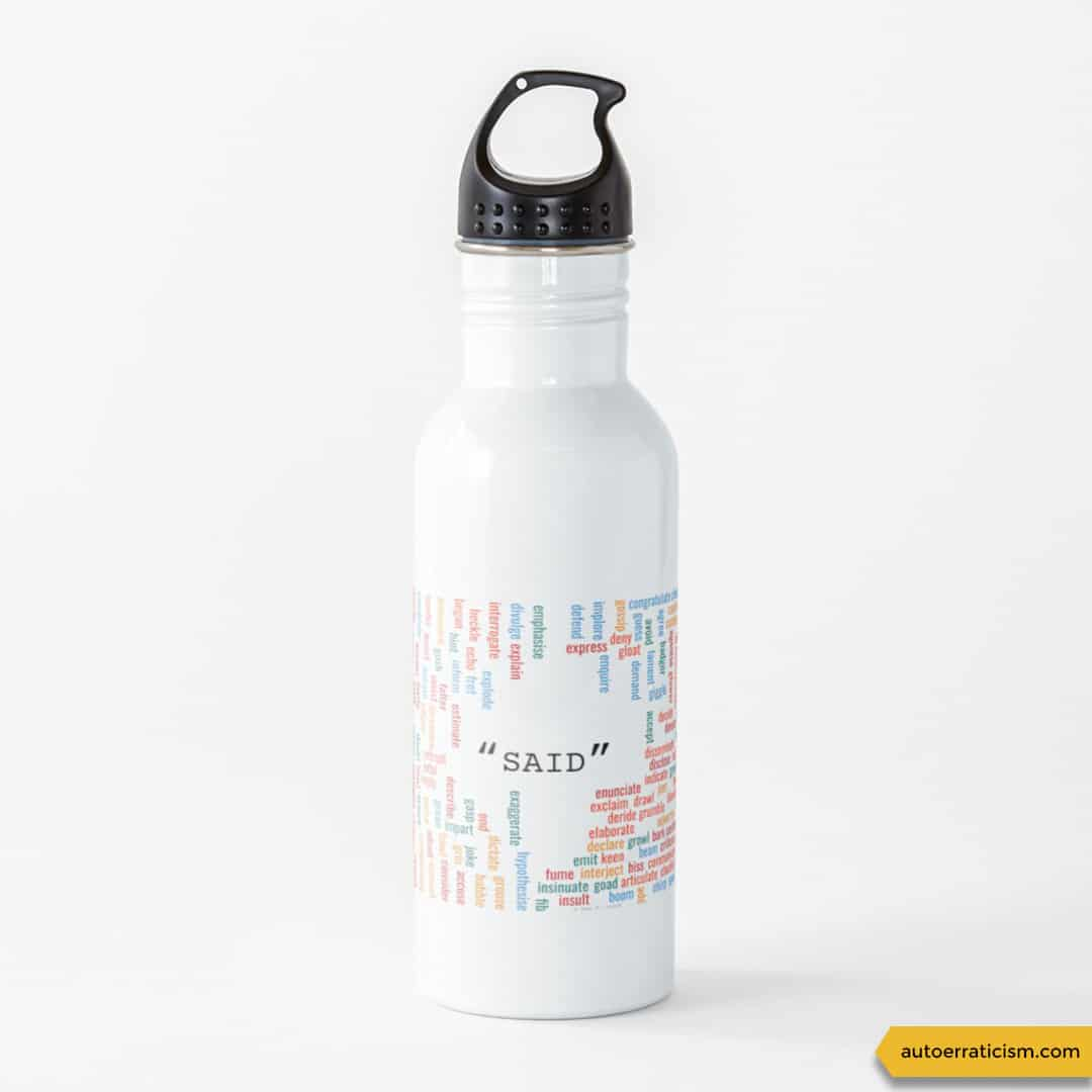 300 synonyms for said, water bottle